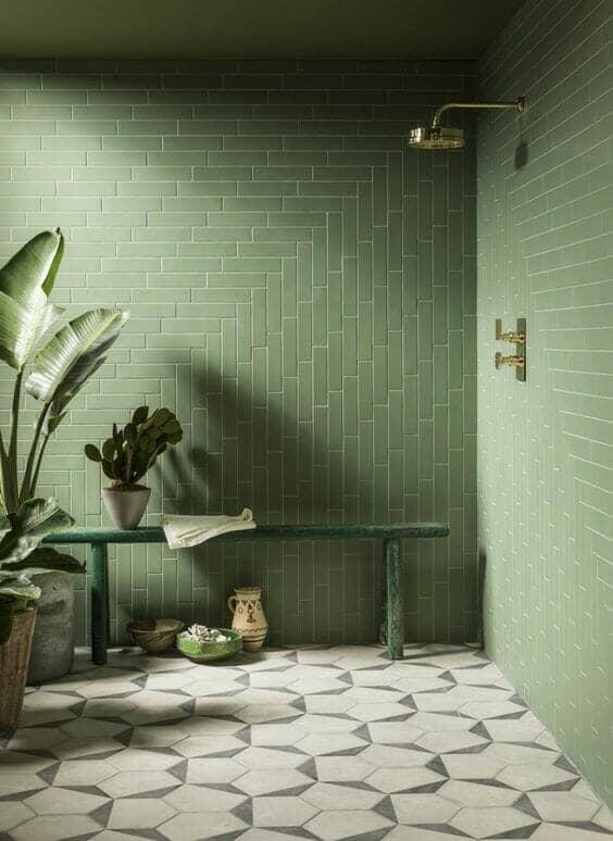 Green subway tile bathroom