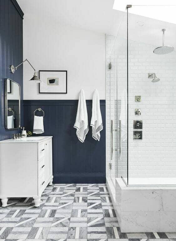 School white bathroom walls