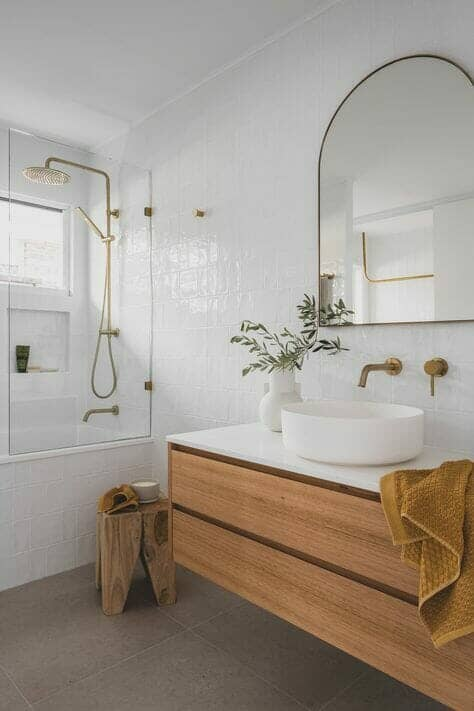 Modern organic bathroom interior