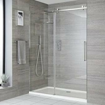 Milano Portland - Recessed Frameless Sliding Shower Door with Tray - Choice of Sizes