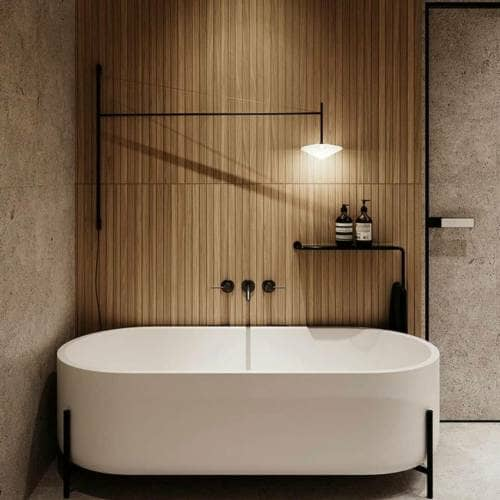 Japandi Bathroom featuring bath tub