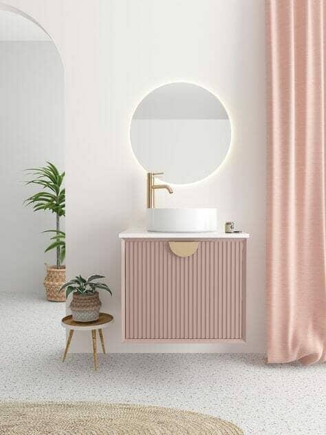 pink floating fluted tile design